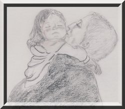 Soul nourishment - Pencil drawing-Mom and daughter